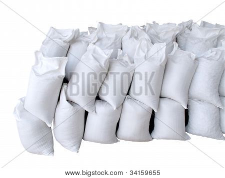 Pile Of White Sacks Full With Sand And Rock