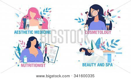 Women Health Care And Treatment People Scene Set. Cartoon Ladies And Doctors Cosmetologist, Nutritio
