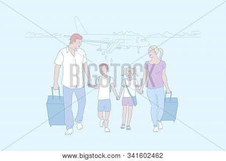 Family Trip, Travelling, Arrival By Air Concept. Vacation, Holidays, Return From Rest, Family Recrea