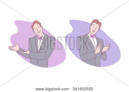 Sign Language, Invitation To Enter, Applause, Handclap, Cheering Concept. Greeting, Welcome, Salute,