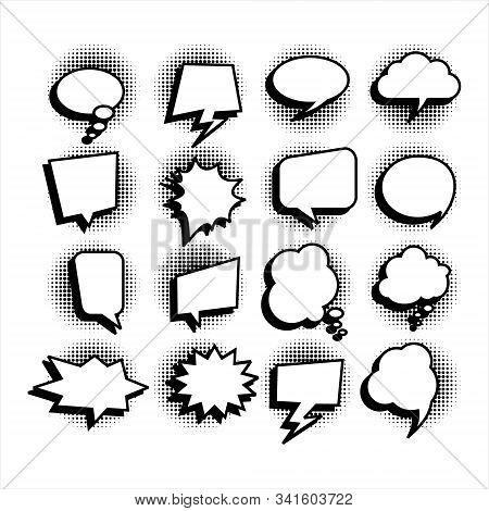 Comic Speech Bubbles. Set Of Speech Bubbles. Empty Dialog Clouds, Social Media Banners, Promotional