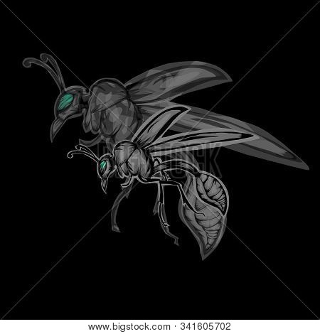 Simple Illustration Of Wasp With Silhouette Wasp On Black Background.