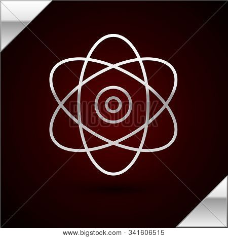 Silver Line Atom Icon Isolated On Dark Red Background. Symbol Of Science, Education, Nuclear Physics
