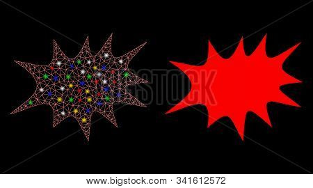 Bright Mesh Boom Bang Icon With Sparkle Effect. Abstract Illuminated Model Of Boom Bang. Shiny Wire