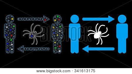 Glossy Mesh Persons Exchange Parasite Icon With Glitter Effect. Abstract Illuminated Model Of Person