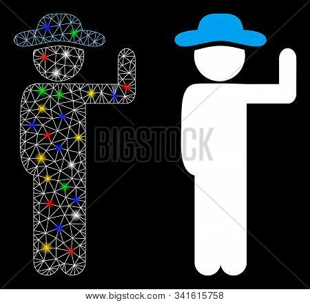 Flare Mesh Gentleman Vote Icon With Glare Effect. Abstract Illuminated Model Of Gentleman Vote. Shin