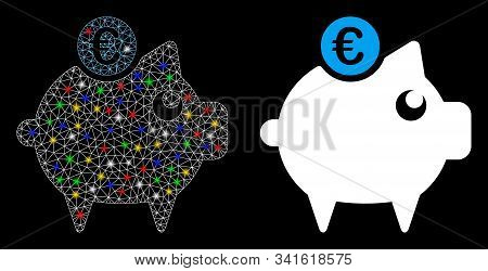 Bright Mesh Euro Piggy Bank Icon With Glare Effect. Abstract Illuminated Model Of Euro Piggy Bank. S