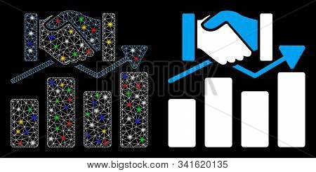 Glowing Mesh Acquisition Graph Icon With Glow Effect. Abstract Illuminated Model Of Acquisition Grap