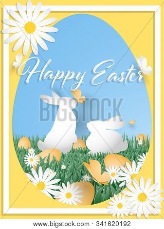 Vector Illustration Of Happy Easter Text With Rainbow Egg On Grass With Butterfly And White Flower I