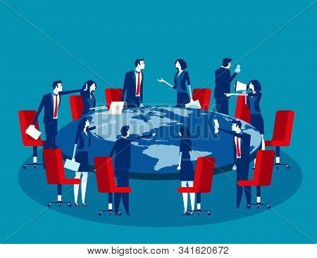 Global Business Meeting. Concept Business Vector Illustration, Economic Wars, World-wide Economy.