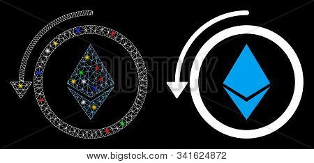 Flare Mesh Refund Ethereum Crystall Icon With Glare Effect. Abstract Illuminated Model Of Refund Eth
