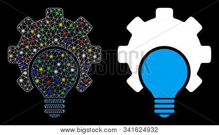 Glossy Mesh Bulb Configuration Gear Icon With Lightspot Effect. Abstract Illuminated Model Of Bulb C
