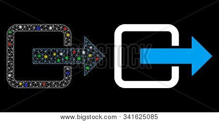 Glowing Mesh Exit Door Icon With Sparkle Effect. Abstract Illuminated Model Of Exit Door. Shiny Wire