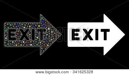 Glowing Mesh Exit Arrow Icon With Glare Effect. Abstract Illuminated Model Of Exit Arrow. Shiny Wire