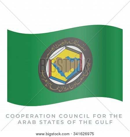 Cooperation Council For The Arab States Of The Gulf Waving Flag Vector Icon. Vector Illustration Iso