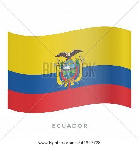 Ecuador Waving Flag Vector Icon. Vector Illustration Isolated On White.