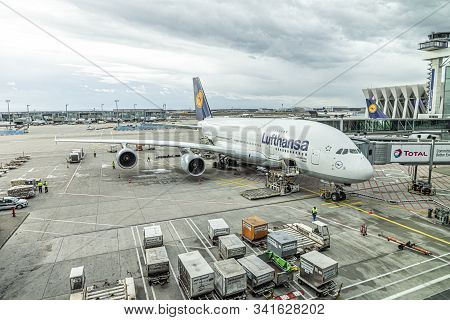 Frankfurt, Germany - March 4, 2019: Lufthansa Airbus A380 Is Ready For Bording At Frankfurt Internat