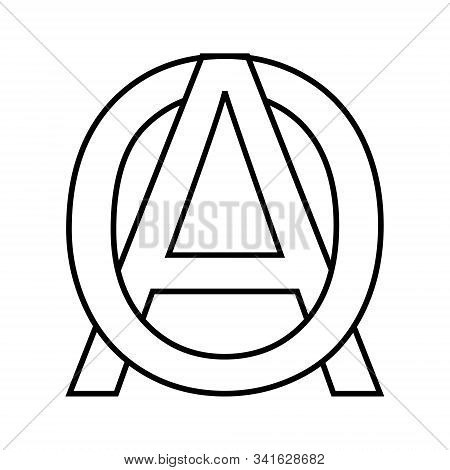 Logo Sign Ao, Oa Icon Sign Interlaced Letters A, O Vector Logo Ao, Oa First Capital Letters Pattern