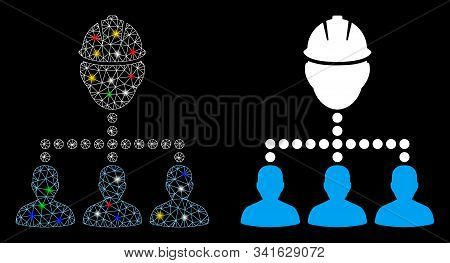 Flare Mesh Engineer Staff Relations Icon With Glow Effect. Abstract Illuminated Model Of Engineer St