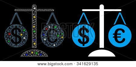 Glossy Mesh Forex Market Scales Icon With Glare Effect. Abstract Illuminated Model Of Forex Market S