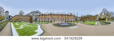 Weilburg, Germany - November 13, 2019: The Historic Orangery Of The Castle Weilburg In Hessen, Germa