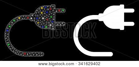 Glowing Mesh Electrical Cord Icon With Lightspot Effect. Abstract Illuminated Model Of Electrical Co