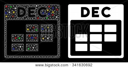 Bright Mesh December Calendar Grid Icon With Lightspot Effect. Abstract Illuminated Model Of Decembe