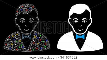 Bright Mesh Dealer Icon With Glow Effect. Abstract Illuminated Model Of Dealer. Shiny Wire Frame Tri