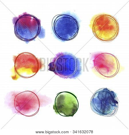 Vector Abstract Scribble Circles And Watercolor Spots On The Background, Isolated On White Hand Draw