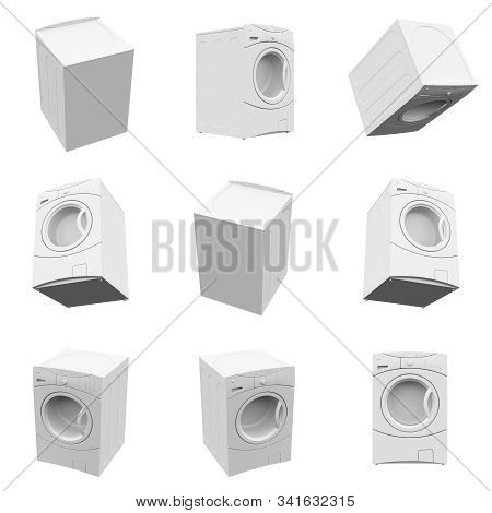 Washing Machine Isolated On The White Background 3d Rendering