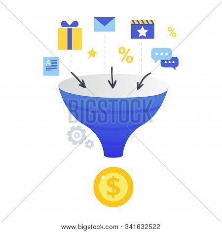 Lead Conversion Vector Illustration. Internet Marketing Conversion. The Process Of Using Bonuses, Di