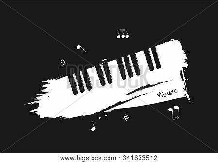 Musical Background In The Style Of A Pencil Sketch. Black And White Piano Keys With Music Notes And