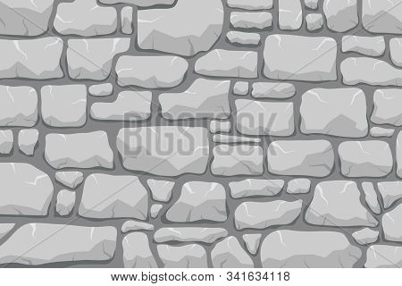 Stone Work. Masonry Made Of Old Stone. Set Of Stones Of Different Shapes And Colors. Vector, Cartoon