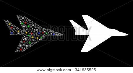 Glowing Mesh Intercepter Plane Icon With Glow Effect. Abstract Illuminated Model Of Intercepter Plan
