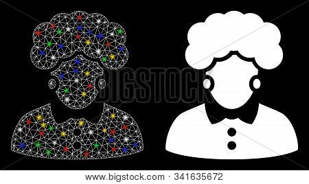 Glossy Mesh Brunette Woman Icon With Glare Effect. Abstract Illuminated Model Of Brunette Woman. Shi