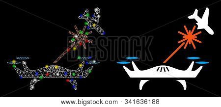 Glossy Mesh Laser Drone Strikes Airplane Icon With Sparkle Effect. Abstract Illuminated Model Of Las