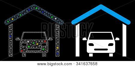 Glossy Mesh Garage Car Icon With Glare Effect. Abstract Illuminated Model Of Garage Car. Shiny Wire