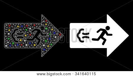 Glossy Mesh Exit Direction Icon With Glare Effect. Abstract Illuminated Model Of Exit Direction. Shi