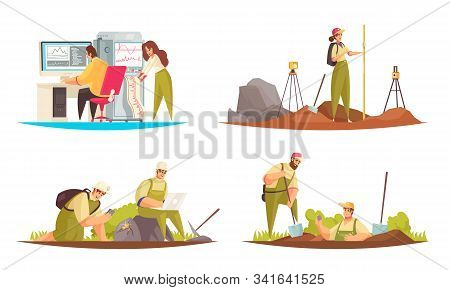 Set Of Four Flat Isolated Geologist Compositions With Doodle Style Human Characters And Technical Eq