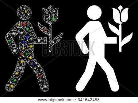 Glowing Mesh Lover With Flower Icon With Sparkle Effect. Abstract Illuminated Model Of Lover With Fl