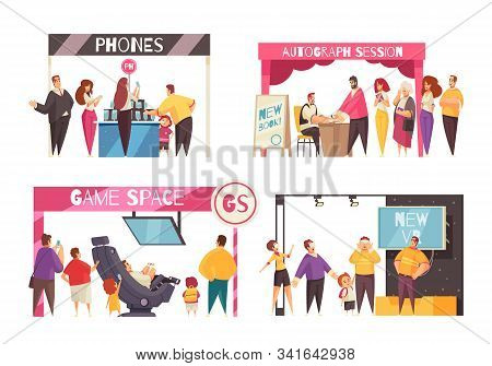Expo Stand Concept Icons Set With Technology Symbols Flat Isolated Vector Illustration