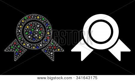 Glowing Mesh Honour Medal Icon With Glitter Effect. Abstract Illuminated Model Of Honour Medal. Shin