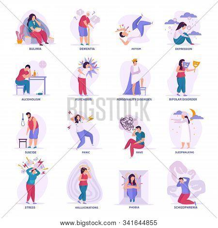 Mental Disorders Flat Icons Illustrated Bipolar Disorder Dementia Autism Bulimia Depression Sleepwal