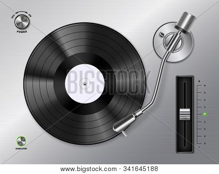 Vinyl Record Disc Playing On Turntable Player Closeup Top View Realistic Black White Retro Image Vec