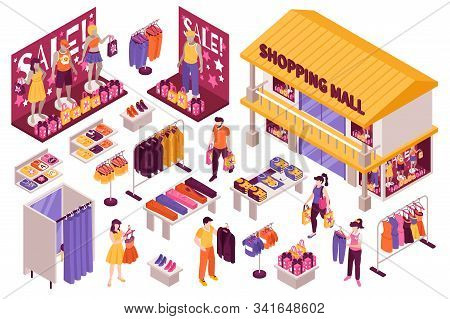 Clothing Store Isometric Set With Shopping Mall Building Fitting Room Sale Display Stands Racks Cust
