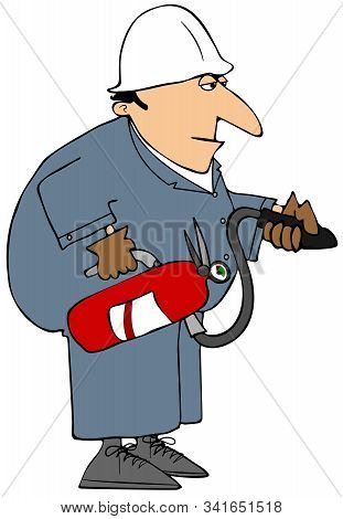 Illustration Of A Workman Wearing Coveralls And A Hard Hat Carrying A Red Fire Extinguisher.