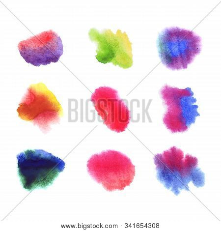 Vector Set Of Abstract Watercolor Spots, Aquarelle Paint, Bright Colorful Splashes On White Backgrou