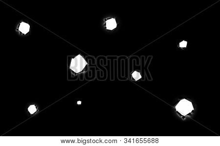 A Lot Of Torn Round Holes Of Different Sizes In Black Paper As If From Bullets With A White Backgrou