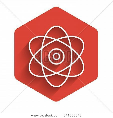 White Line Atom Icon Isolated With Long Shadow. Symbol Of Science, Education, Nuclear Physics, Scien