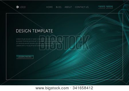 Abstract Tech Background With Waveform Lines Landing Page Design Template For Web Page Website Page